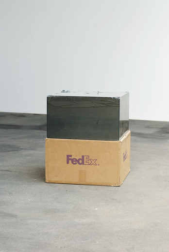 Walead Beshty, Fedex® Kraft Box ©2005 FEDEX 157872 REV 10/05 CC, Fedex 2-Day, Los Angeles-Berlin (Tracking No. 8652 8205 7840), glass with safety glass laminate, silicone, cardboard, 2008, 50.8 x 50.8 x 30.48 cm