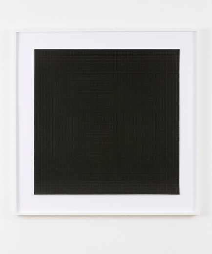 Jeremy Shaw, 10,000 Hits of Black Acid, black ink silkscreen on 250 pound blotter paper perforated 60 000 times into 10 000 1/4 in squares, 2005, 76 x 76 cm