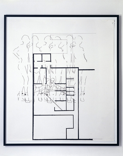 Monica Bonvicini, Pin Up Girl, tempera marker on Fabriano paper, framed, 2002, 150 x 130 cm
