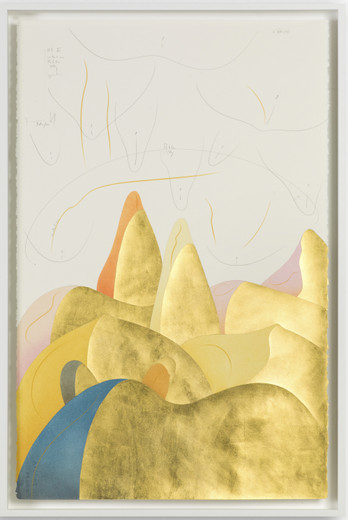 Jorinde Voigt, Hills VI, ink, gold leaf, pastel, oil crayon, pencil on paper, 2017, 102 x 66 cm, unique