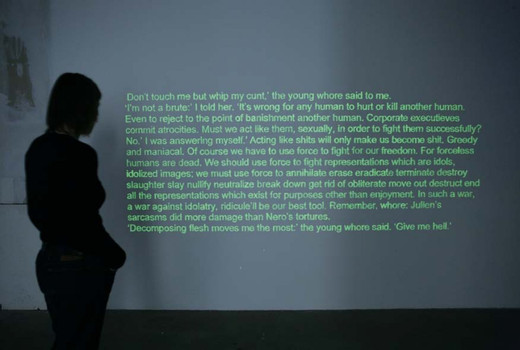 Natascha Sadr Haghighian, Empire of the Senseless Part I, motion sensor, construction site spotlight, contact microphones, phospho paint, text by Kathy Acker, 2006, dimensions variable, Edition of 3 + 1 AP