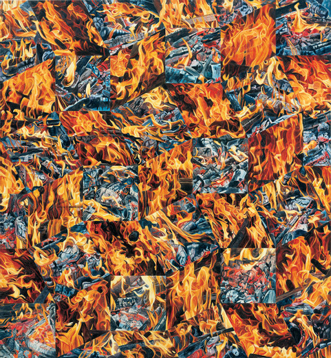 Corinne Wasmuht, Feuer, oil on wood, 1990, 156 x 144 cm, unique