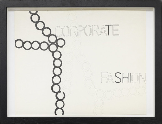 Monica Bonvicini, Corporate Fashion, ballpen on paper, framed, 2001, 27.9 x 35.4 cm