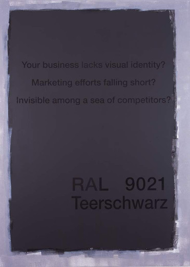 Johannes Wohnseifer, Spam Painting No. 4 (RAL 9021-Teerschwarz), acrylic, scotchlite on aluminium, 2005, 140 x 100 cm