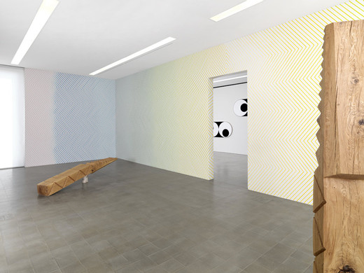 Claudia Comte, Funiculì Funiculà, Installation view at Kunsthaus Biel, Switzerland, oak, 2013, 28 x 303 x 38.5 cm