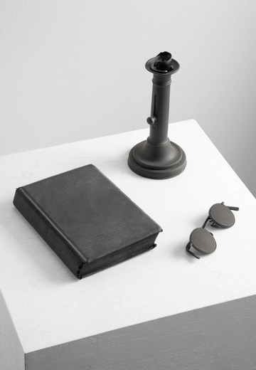 Kris Martin, The Readers, book, eyeglasses, candle, paint, 2005, dimensions variable, unique
