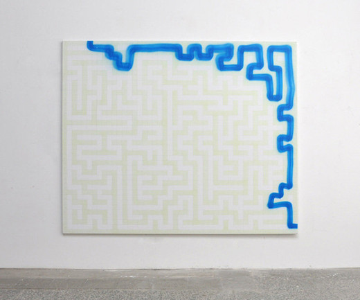 "<span class=""artists work-caption"">Michael Sailstorfer</span><span class=""title work-caption"">Maze 40</span><span class=""technique work-caption"">phosphorescent acrylic and spray paint on canvas</span><span class=""year work-caption"">2012</span><span class=""dimensions work-caption"">190 x 230 cm</span><span class=""edition work-caption"">unique</span>"