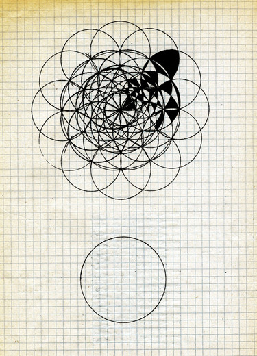 Manfred Kuttner, Skizzenbuch, Seite 1, India ink on squared paper, 1963, 29.5 x 21 cm
