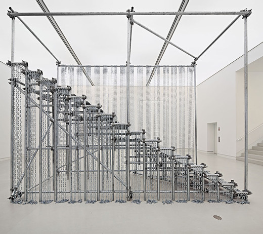 "<span class=""artists work-caption"">Monica Bonvicini</span><span class=""title work-caption"">SCALE OF THINGS (to come)</span><span class=""technique work-caption"">galvanized steel pipes, galvanized plates and chains, clamps</span><span class=""year work-caption"">2010</span><span class=""dimensions work-caption"">393 x 192 x 485 cm</span><span class=""edition work-caption"">2/3 + 1AP</span>"