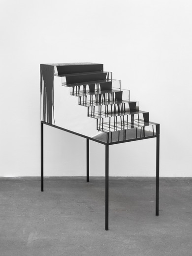 Monica Bonvicini, On the Table #1, table frame, MDF, polystyrene, acryl mirror, black latex paint, black lacquer, black paint spray, 2013, 128 x 56 x 105 cm, unique