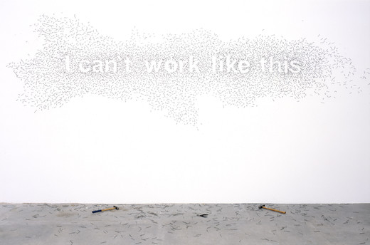 Natascha Sadr Haghighian, I can't work like this, wall installation, nails, two hammers, 2007, 220 x 450 cm, Edition of 3 + 2 AP