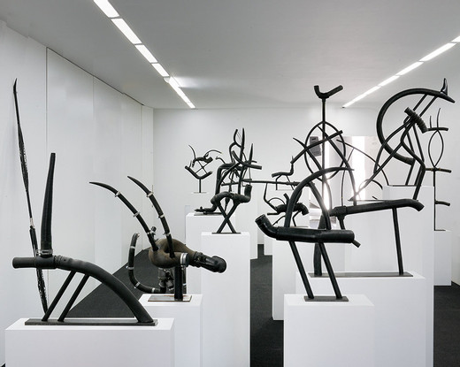 Camille Henrot, Endangered Species, car motor elements, 2009, dimensions variable