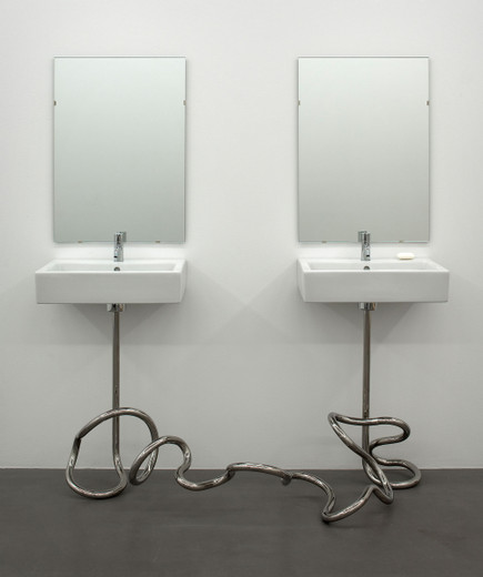 Elmgreen & Dragset, Marriage, mirrors, porcelain sinks, taps, stainless steel tubing, soap, 2004, 178 x 168 x 81 cm, unique in a series of three + 1 AP