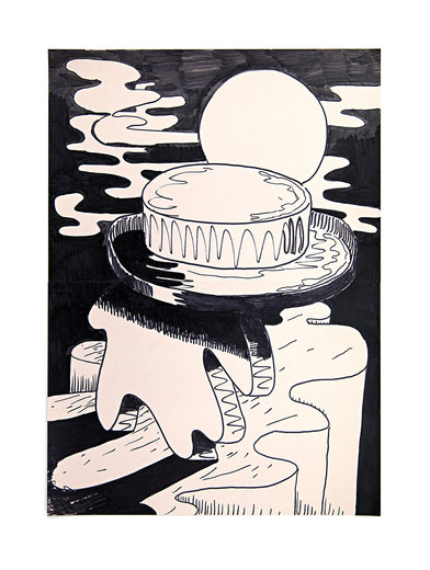 Henning Bohl, Great Old One at Night, marker on paper, 2012, 47.4 x 35.1 cm