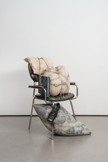 Tatiana Trouvé, The Guardian, patinated bronze, brass, paint, onyx, marble, sodalite, steel, 2020, 94 x 20 x 65 cm, unique