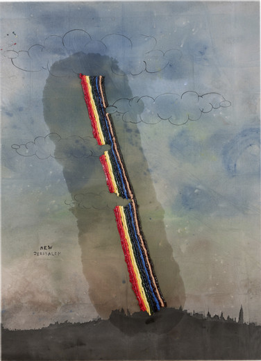 Friedrich Kunath, Untitled, Watercolor and oil on canvas, 2007, 70.88 x 51.25 in