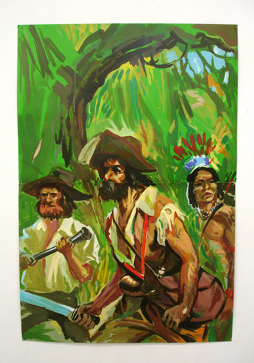 Tim Braden, Buccanneers, acrylic and gouache on illustrator's card (unframed, pinned to the wall), 2006, 97.5 x 66 cm
