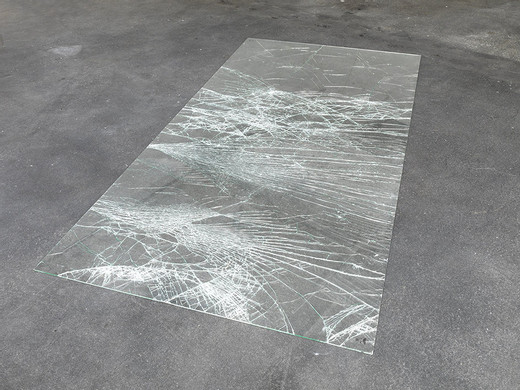 Oscar Tuazon, Untitled, safety glass, 2010, 245 x 122 x 0.7 cm, unique