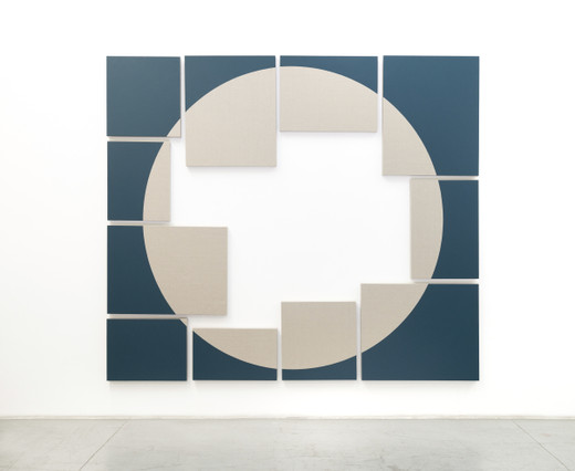 Jose  Dávila, The most famous problem in the history of mathematics is that of squarting the circle V, vinyl paint on loomstate linen, 2019, 259.4 x 299.6 x 6 cm; 102 x 118 x 2 1/3 in, unique