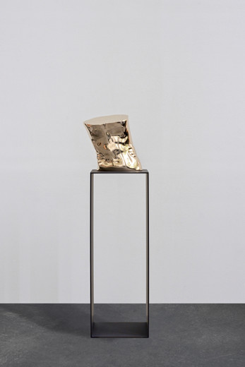 Elmgreen & Dragset, The Influence, Fig. 3, polished bronze, lacquer, steel, 142 x 38 x 38 cm, unique
