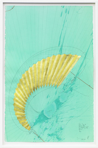 Jorinde Voigt, Grüne Treppe (II), ink, gold leaves, oil crayon, India ink, pencil on paper, framed, 2014, 102 x 66 cm, unique
