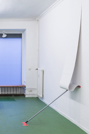 Natascha Sadr Haghighian, I Woke Up Like This, wallpaper, wallpaint, spray glue, Peggy Perfect bathroom wiper, cloth tape, 2014, dimensions variable, Edition of 10 + 2AP
