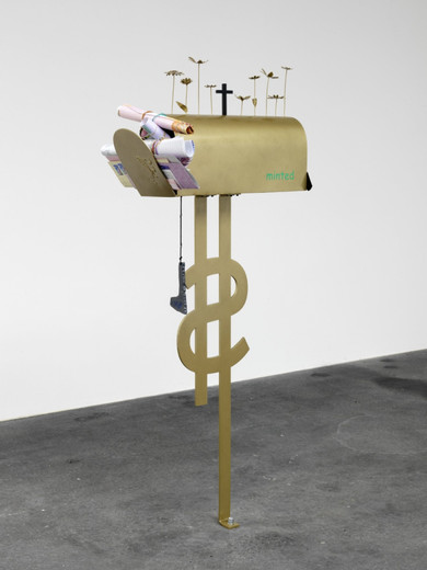 Helen Marten, Home grown, welded powder coated steel, cut vinyl, inkjet prints from envelope scans, burnt rope, plastic, ink stamps, string, rubber bands, 2011, 110 x 48 x 17 cm