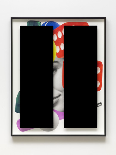 "<span class=""artists work-caption"">Kathryn  Andrews</span><span class=""title work-caption"">Black Bars: Déjeuner No. 17 (Girl with Grill Lighter, Flashlight, Lemon, Croquet Ball, Ping Pong Ball and Dice)</span><span class=""technique work-caption"">aluminium, Plexiglas, ink, paint</span><span class=""year work-caption"">2017</span><span class=""dimensions work-caption"">153 x 122.50 x 8.30 cm</span><span class=""edition work-caption"">unique</span>"
