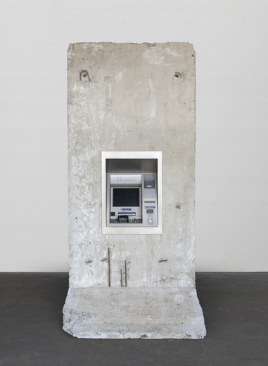 Elmgreen & Dragset, Statue of Liberty, Original section of the Berlin wall, cash machine, stainless steel, 2018, 298 x 149 x 148 cm, unique