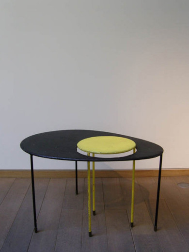 "Mathieu Matégot, ""Kangourou"""" table"", perforated steel, 1954, 66 x 48 x 38 cm"