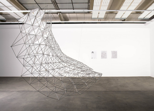 Andreas Zybach, Space frame potato chip, aluminium, construction plans, historical and current newspaper pages, 2006, 280 x 290 cm