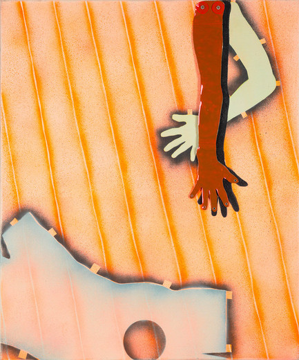 Kiki Kogelnik, Artificial Hand, acrylic with mixed media and metallic foil on canvas on dibond, 1966, 120 x 101 cm, unique