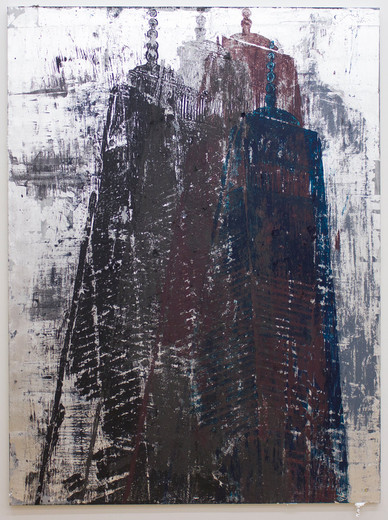 Enoc Perez, One World Trade Center, Blattsilber und Öl auf Leinwand, 2015, 204 x 153 cm, unique
