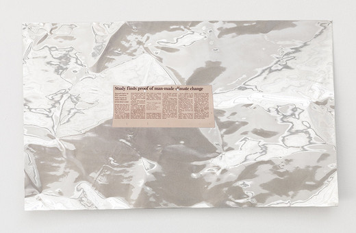 Tue Greenfort, 'Study finds proof of man-made climate change' (2008), inkjet transfer on metal sheets, 2014, 45 x 74 x 3 cm, unique
