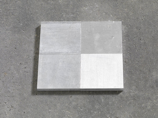 Carl Andre, ALΣ 4, 4 parts, aluminium, 2006, each 1 x 10 x 10 cm; 3/8 x 4 x 4 in overall 3/8 x 7 7/8 x 7 7/8 in; 1 x 20 x 20 cm, unique