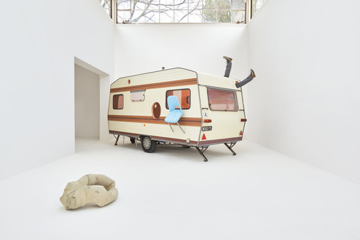 Erwin Wurm, Just about Virtues and Vices in General, mixed media, caravan, pieces of furniture, 2016 - 2017, unique