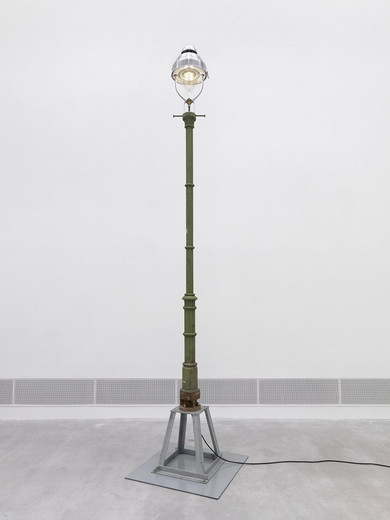 Tue Greenfort, Naturkultur 2, Berlin gas lantern (LED) Typ Rodan, metal base, cable, 2012, hight latern with base and lamp: 497 cm base: 100 x 100 cm x 1 cm lamp: ø 42,5 cm