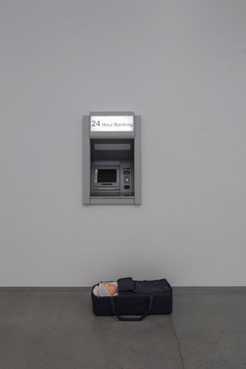 Elmgreen & Dragset, Modern Moses, Carrycot, bedding, wax figure, baby clothes, stainless steel cash machine, 2006, Carrycot: ca. 16 x 71 x 37 cm; cash machine: 96.5 x 63.8 x 43.5 cm