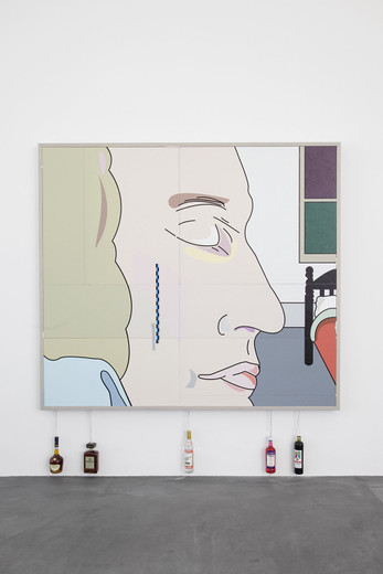 Helen Marten, Geologic amounts of sober time (Mozart drunks), Screen printed leather and ostrich fabric; lilac stained ash frames; prepared bottles; cement, 2012, 220 x 195 x 8 cm
