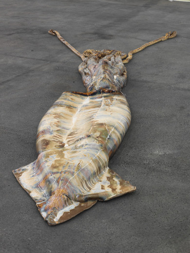 David Zink Yi, Untitled (Architeuthis), ceramic,  coated with copper  and lead, 2010, 486 x 115 x 29 cm