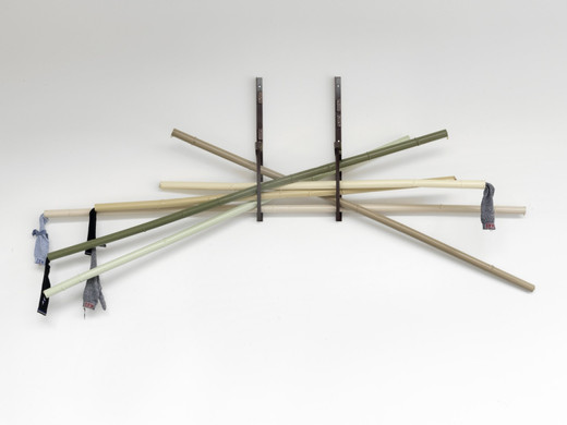 Helen Marten, Riggers, cut and re-welded powder-coated steel tube, no-brand sports socks, split rings, keychain rings, welded steel brackets, socket bolts, powder coated aluminium, coach screws, 2011, 130 x 270 x 70 cm