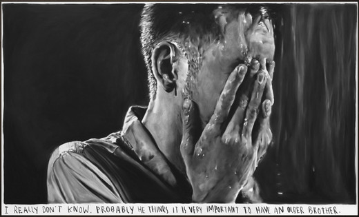 Rinus Van de Velde, I really don't know., charcoal on canvas, artist frame, 2018, 125 x 210 cm, unique