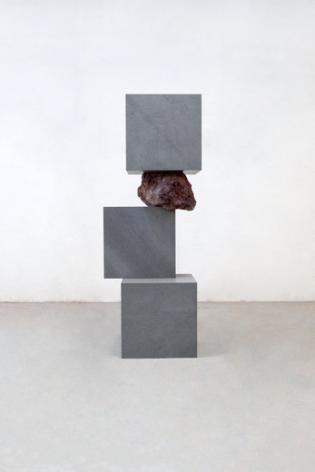 Jose  Dávila, The weaker has conquered the stronger I, Basalt stone and volcanic rock, 2019, 251.20 x 112.50 x 100.20 cm, unique