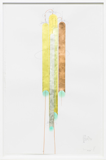 Jorinde Voigt, 5 Tubes, ink, gold leaves, copper foil, oil crayon, pastel, pencil on paper, framed, 2014, 102 x 66 cm, unique