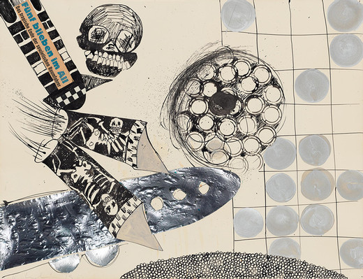Kiki Kogelnik, Space, acrylic, India ink, foil and collage on paper, 1963, 50 x 65 cm