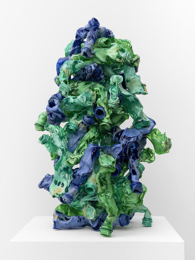 Tue Greenfort, 1 Kilo PET, PET- bottles, different sizes, fused, 2014, 60 x 40 x 40 cm, unique