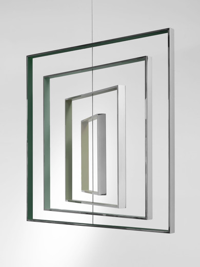 Jose  Dávila, Homage to the Square, polished stainless steel, epoxy paint and wire, 2017, 90 x 90 x 90 cm, unique