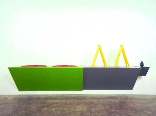 "Haim Steinbach, 'caution', Plastic laminated wood shelf; two coir and rubber door mats; two plastic ""Caution"""" floor signs; rubber dog chew"", 2007, 219.7 x 381 x 66 cm"
