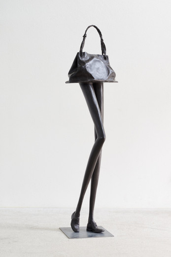 Erwin Wurm, Tall bag G, bronze, patinated, 2019, 180 x 50 x 45 cm