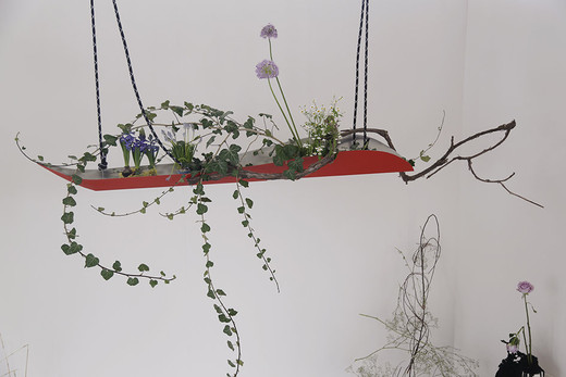 Camille Henrot, The Emigrants, W.G. Sebald, ikebana, 2014, dimensions variable, unique